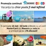 Plateste online cu un card MasterCard sau Maestro si ai 5% reducere la biletele de avion!