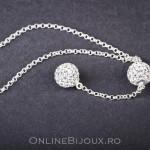 Colier argint cu 2 bile de pietre swarovski albe, design italian