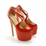 sandale rosii cu toc inalt