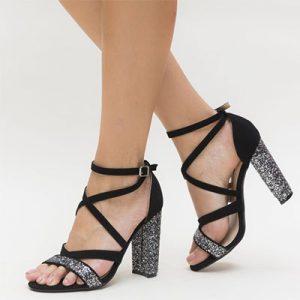 sandale glitter cu toc gros